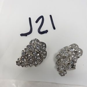 Givenchy Jewelry - Givenchy crystal silver metal clip earrings